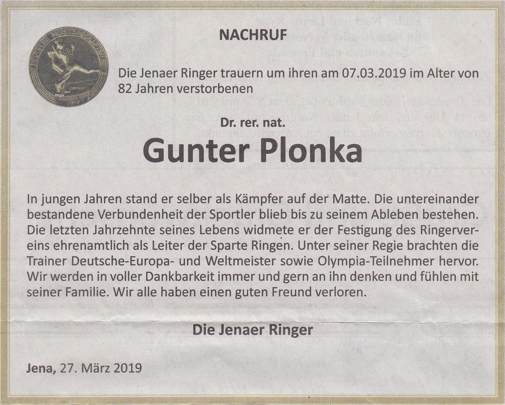 Nachruf für Dr. Gunter Plonka